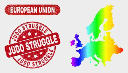 Rainbow colored dot European Union map and seals. Red round Judo Struggle distress seal. Gradient rainbow colored European Union map mosaic of randomized round dots. Illustration