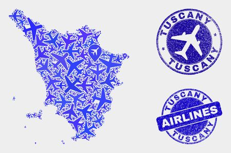 Airlines vector Tuscany region map collage and grunge stamps. Abstract Tuscany region map is done from blue flat random airlines symbols and map locations. Delivery plan in blue colors,