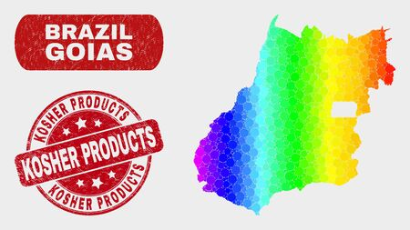 Spectrum dot Goias State map and seal stamps. Red rounded Kosher Products grunge watermark. Gradient spectrum Goias State map mosaic of randomized circle. Banque d'images - 126703164