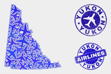 Airlines vector Yukon Province map mosaic and scratched watermarks. Abstract Yukon Province map is organized with blue flat randomized airlines symbols and map locations. Shipping plan in blue colors,
