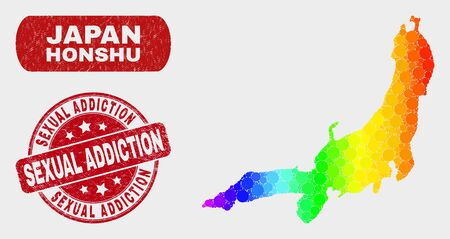 Rainbow colored dot Honshu Island map and stamps. Red round Sexual Addiction grunge stamp. Gradient rainbow colored Honshu Island map mosaic of random circle dots.