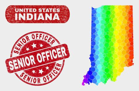 Rainbow colored dotted Indiana State map and watermarks. Red round Senior Officer scratched seal. Gradient rainbow colored Indiana State map mosaic of scattered small spheres. Illustration
