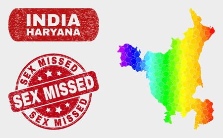 Rainbow colored dotted Haryana State map and rubber prints. Red round Sex Missed textured watermark. Gradiented rainbow colored Haryana State map mosaic of random round dots.