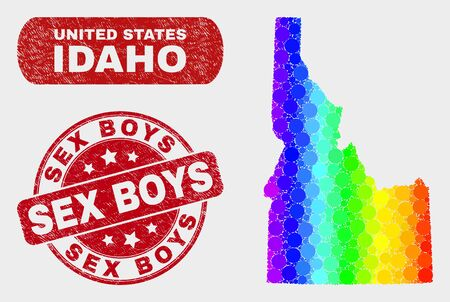 Rainbow colored dot Idaho State map and rubber prints. Red round Sex Boys grunge watermark. Gradiented rainbow colored Idaho State map mosaic of scattered round dots.