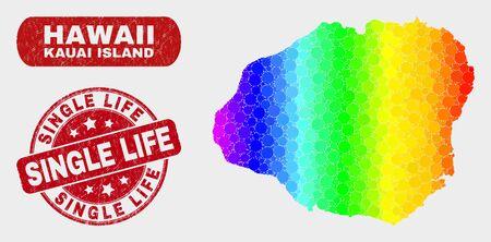 Spectrum dot Kauai Island map and stamps. Red rounded Single Life grunge seal. Gradiented spectrum Kauai Island map mosaic of randomized circle. Single Life imprint with grunge surface.