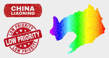 Spectrum dot Liaoning Province map and seals. Red round Low Priority scratched seal stamp. Gradient spectrum Liaoning Province map mosaic of randomized circle dots. Illustration