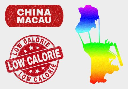 Rainbow colored dotted Macau map and seals. Red round Low Calorie textured watermark. Gradiented rainbow colored Macau map mosaic of randomized round elements. Low Calorie seal with scratched texture. Ilustrace
