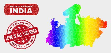 Rainbow colored dotted Madhya Pradesh State map and rubber prints. Red round Love Is All You Need grunge seal stamp.