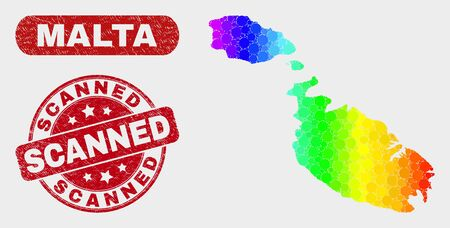 Rainbow colored dotted Malta map and seal stamps. Red round Scanned grunge seal stamp. Gradiented rainbow colored Malta map mosaic of random small spheres. Scanned seal stamp with grunged surface.