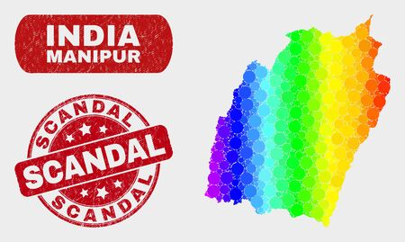 Rainbow colored dot Manipur State map and seals. Red rounded Scandal distress stamp. Gradient rainbow colored Manipur State map mosaic of random circle elements. Scandal seal stamp with dirty surface.