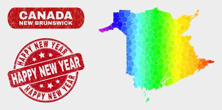 Rainbow colored dot New Brunswick Province map and rubber prints. Red round Happy New Year distress seal stamp. Gradiented rainbow colored New Brunswick Province map mosaic of scattered spheric dots.