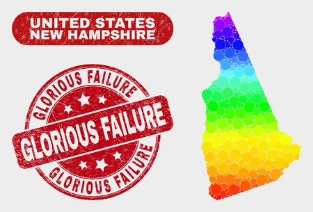 Rainbow colored dotted New Hampshire State map and seal stamps. Red round Glorious Failure scratched seal stamp. Gradient rainbow colored New Hampshire State map mosaic of random round dots. 일러스트