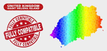 Spectrum dotted Saint Helena Island map and seal stamps. Red rounded Fully Compatible textured seal stamp. Gradiented spectrum Saint Helena Island map mosaic of randomized small spheres.