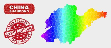 Spectrum dotted Shandong Province map and stamps. Red round Fresh Product distress watermark. Gradient spectrum Shandong Province map mosaic of randomized round dots. Banque d'images - 126703473