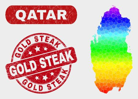Rainbow colored dotted Qatar map and seal stamps. Red round Gold Steak scratched seal. Gradiented rainbow colored Qatar map mosaic of random round elements. Gold Steak seal with grunge texture.