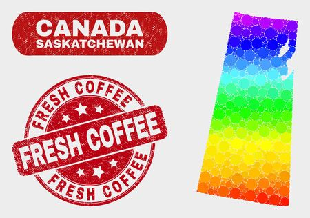 Rainbow colored dotted Saskatchewan Province map and watermarks. Red round Fresh Coffee textured seal stamp. Gradient rainbow colored Saskatchewan Province map mosaic of random round elements. Illustration