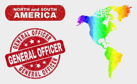 Spectrum dotted South and North America map and seal stamps. Red round General Officer textured seal stamp. Gradient spectrum South and North America map mosaic of random circle elements.
