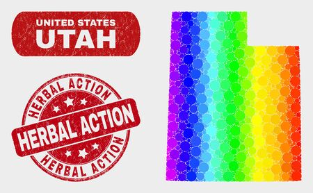 Rainbow colored dotted Utah State map and rubber prints. Red round Herbal Action textured seal stamp. Gradient rainbow colored Utah State map mosaic of random spheric dots.