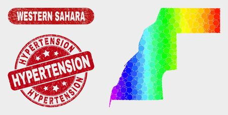 Rainbow colored dot Western Sahara map and stamps. Red round Hypertension scratched watermark. Gradiented rainbow colored Western Sahara map mosaic of random round dots.