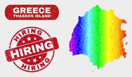 Rainbow colored dot Thassos Island map and stamps. Red round Hiring distress seal stamp. Gradiented rainbow colored Thassos Island map mosaic of random circle dots.