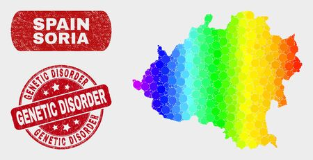 Rainbow colored dot Soria Province map and seal stamps. Red rounded Genetic Disorder textured seal stamp. Gradiented rainbow colored Soria Province map mosaic of scattered small spheres. Illustration