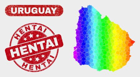 Rainbow colored dotted Uruguay map and rubber prints. Red rounded Hentai distress watermark. Gradiented rainbow colored Uruguay map mosaic of random round dots. Hentai watermark with distress texture.  イラスト・ベクター素材