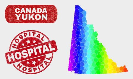 Rainbow colored dotted Yukon Province map and stamps. Red rounded Hospital textured seal. Gradient rainbow colored Yukon Province map mosaic of random round dots.