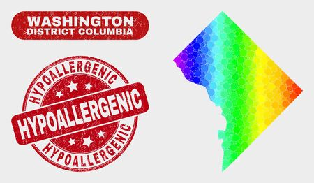 Spectral dotted Washington District Columbia map and seal stamps. Red round Hypoallergenic grunge seal stamp. Gradient spectrum Washington District Columbia map mosaic of randomized round elements.
