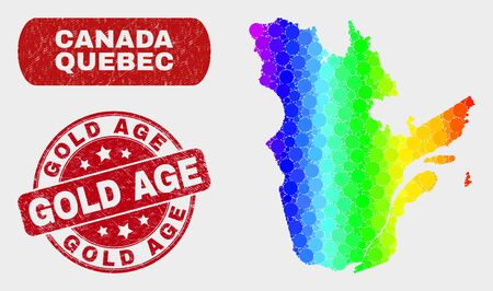 Rainbow colored dot Quebec Province map and seal stamps. Red rounded Gold Age scratched seal stamp. Gradiented rainbow colored Quebec Province map mosaic of randomized round dots.