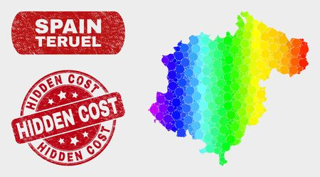 Rainbow colored dotted Teruel Province map and seal stamps. Red rounded Hidden Cost distress seal. Gradiented rainbow colored Teruel Province map mosaic of random circle dots.