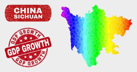 Spectral dotted Sichuan Province map and seal stamps. Red round GDP Growth grunge seal stamp. Gradiented spectral Sichuan Province map mosaic of scattered circle elements.