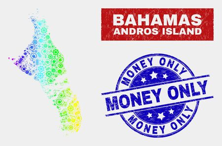 Industrial Andros Island of Bahamas map and blue Money Only grunge stamp. Colorful gradiented vector Andros Island of Bahamas map mosaic of service components. Blue rounded Money Only stamp. Stock Illustratie