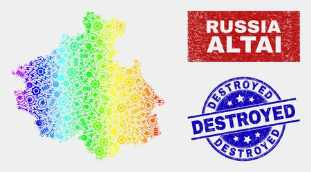 Industrial Altai Republic map and blue Destroyed grunge stamp. Spectrum gradiented vector Altai Republic map mosaic of engineering units. Blue round Destroyed stamp.
