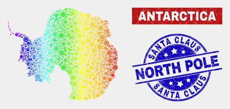 Tools Antarctica continent map and blue Santa Claus North Pole grunge stamp. Spectral gradiented vector Antarctica continent map mosaic of mechanic. Blue round Santa Claus North Pole stamp.  イラスト・ベクター素材