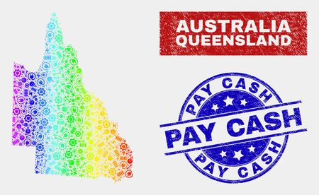 Productivity Australian Queensland map and blue Pay Cash textured seal stamp. Spectrum gradiented vector Australian Queensland map mosaic of productivity components. Blue rounded Pay Cash stamp.