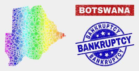 Service Botswana map and blue Bankruptcy grunge seal stamp. Rainbow colored gradient vector Botswana map mosaic of mechanics parts. Blue round Bankruptcy badge. Ilustração