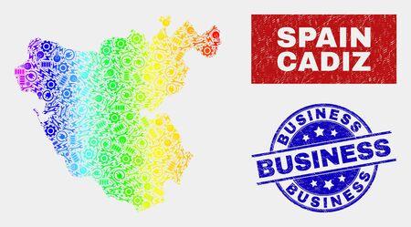 Component Cadiz Province map and blue Business grunge seal. Spectrum gradiented vector Cadiz Province map mosaic of mechanic. Blue round Business seal.
