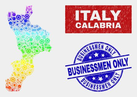 Element Calabria region map and blue Businessmen Only grunge stamp. Spectrum gradiented vector Calabria region map mosaic of equipment items. Blue round Businessmen Only stamp.