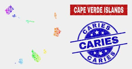 Construction Cape Verde Islands map and blue Caries scratched seal. Spectrum gradient vector Cape Verde Islands map mosaic of service elements. Blue rounded Caries seal.