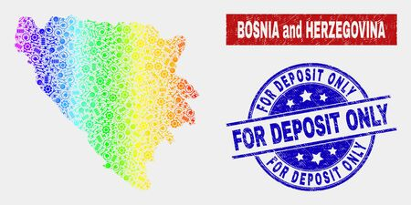Productivity Bosnia and Herzegovina map and blue For Deposit Only scratched seal stamp. Spectrum gradient vector Bosnia and Herzegovina map mosaic of productivity elements. Banque d'images - 126703562