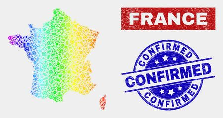 Assembly France map and blue Confirmed distress seal stamp. Rainbow colored gradient vector France map mosaic of machinery. Blue rounded Confirmed stamp.