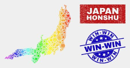 Engineering Honshu Island map and blue Win-Win grunge stamp. Colorful gradiented vector Honshu Island map mosaic of engineering components. Blue rounded Win-Win stamp.