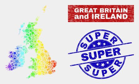 Productivity Great Britain and Ireland map and blue Super grunge stamp. Rainbow colored gradient vector Great Britain and Ireland map mosaic of equipment elements. Blue rounded Super stamp.