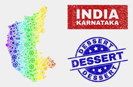 Productivity Karnataka State map and blue Dessert scratched stamp. Spectrum gradient vector Karnataka State map mosaic of industrial parts. Blue round Dessert stamp. Illustration
