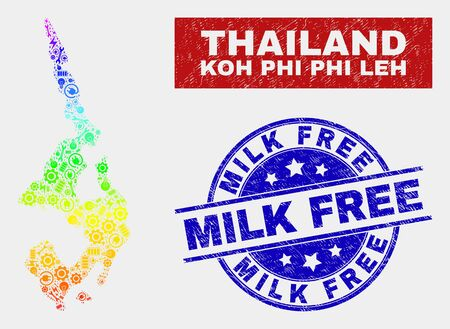 Construction Koh Phi Leh map and blue Milk Free grunge seal stamp. Rainbow colored gradient vector Koh Phi Leh map mosaic of production components. Blue rounded Milk Free seal.
