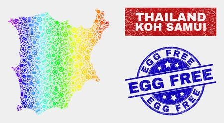 Tools Koh Samui map and blue Egg Free textured seal stamp. Colorful gradient vector Koh Samui map mosaic of industrial components. Blue round Egg Free stamp. Illustration