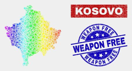 Service Kosovo map and blue Weapon Free distress stamp. Spectrum gradiented vector Kosovo map mosaic of service units. Blue round Weapon Free seal. Banque d'images - 126703869