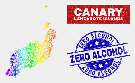 Factory Lanzarote Islands map and blue Zero Alcohol distress seal stamp. Rainbow colored gradiented vector Lanzarote Islands map mosaic of production parts. Blue rounded Zero Alcohol stamp.