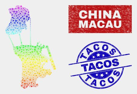 Engineering Macau map and blue Tacos distress seal. Spectral gradient vector Macau map mosaic of workshop units. Blue rounded Tacos seal.