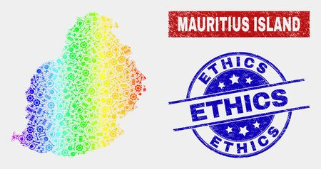 Tools Mauritius Island map and blue Ethics distress stamp. Spectral gradient vector Mauritius Island map mosaic of service. Blue round Ethics stamp.